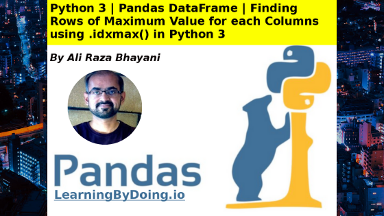 Python Pandas DataFrame .idxmax get row of maximum value